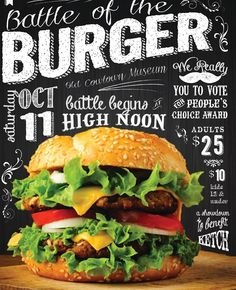Battle of the Burger is a family event featuring a Burger Sampling, local artists selling and demonstrating their Crafts, Kids activities, live music, wagon rides, a Car Show and more!  October 11th -Cowtown - Wichita, KS