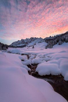 Glowing winter dream, sunrise, Säntis, Alps, Switzerland, by Raphael Messmer