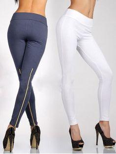 Vogue Empire Zipper Slim Tight Solid Color Leggings