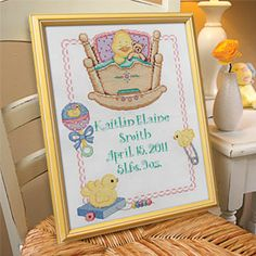 "BABY STITCH - TWINKLE TWINKLE - BIRTH RECORD Product # PD45585 $21.98 CAD - Make a lasting memento of the moment that precious little life began. Stamped cross stitch on 14-count white Aida (100% cotton). Kit includes cotton embroidery floss, floss separators, needle, instructions. Made in USA. 9""W x 13""H"