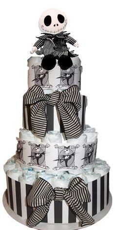 Jack Skellington Wedding cake It might not be baked but it's still a cake.
