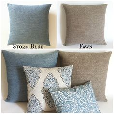 12 Sizes Available: Grey Blue and Taupe Decorative Zipper Pillow Cover 16x16 18x18 20x20 22x22 inches