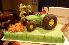 John Deere John Deere cake with cornstalks, a pumpkin patch and hay. Pumpkin Patch Farm, Pumpkin Patch Birthday, Tractor Birthday Cakes, Tractor Cakes, Fondant Cakes, Cupcake Cakes, Cupcakes, Dad Cake, Cake Pictures