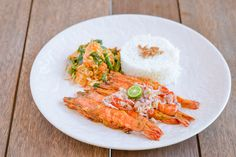 Grilled Prawns with Rice and Balinese Vegetables served by The Open House Bali Restaurant.