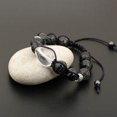 Браслет шамбала из натуральных камней (горный хрусталь, агат-кракле)