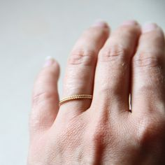 Two Rope Thread Rings - Tiny Twist Textured Gold Stacking Rings - Delicate Jewelry - Memory Rings. $19.00, via Etsy.