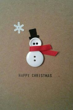 ▷ ideas - make Christmas cards - great gift ideas for you - DIY - Weihnachten - Noel Homemade Christmas Cards, Christmas Cards To Make, Homemade Cards, Christmas Holidays, Button Christmas Cards, Christmas Snowman, Chrismas Cards, Diy Holiday Cards, Christmas Card Crafts
