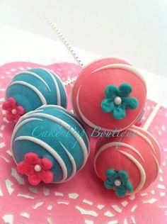 Pink & Teal Blossom Cake Pops