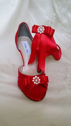 Wedding Shoes Red Bridal Shoes Crystal Rhinestone Flower Bow Wedding Shoes  Over 100 Custom Color Cho 0c6c00693be6
