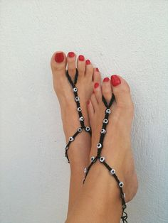 Evil eye summer fun cuties! Gothic   beads  macrame Foot jewelry Anklet Nude by ArtofAccessory, $15.00