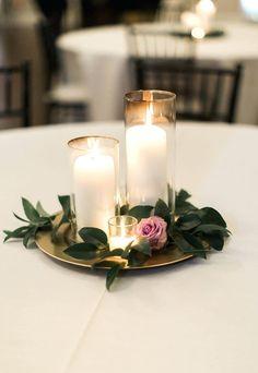 Diy Wedding Centerpieces Ideas On A Budget Cake Table Decoration Simple Centerpiece Candle Purple Greenery #weddingdecoration