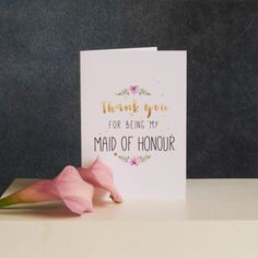 A beautiful card to say thank you to your Maid of Honour. Left blank for you to write your own heartfelt message.