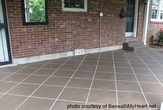 Staining concrete floors is so easy you can create a work of art on your front porch or patio. Change drab concrete floor into extraordinary and we share the basic steps. Painting Concrete, Concrete Tiles, Stained Concrete, Concrete Patio, Concrete Staining, Faux Painting, Cement Stain, Tile Painting, Concrete Resurfacing