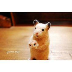 Cute Needle felted wool animal mouse (Via @yucococafe)