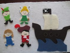 This is a handmade felt set that includes Peter Pan, TInkerbell, Wendy, Captain Hook, and a Pirate Ship. It was made with quality acrylic felt,