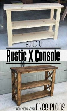 Easy Woodworking Projects - Rustic X Console - Cool DIY Wood Projects for Beginn. Easy Woodworking Projects – Rustic X Console – Cool DIY Wood Projects for Beginners – Easy Pr Kids Woodworking Projects, Wood Projects For Beginners, Wood Working For Beginners, Diy Pallet Projects, Woodworking Furniture, Diy Woodworking, Woodworking Skills, Woodworking Machinery, Woodworking Techniques