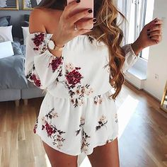 rompers womens jumpsuit 2017 Sexy Off Shoulder Backless Rompers Floral Print Playsuits hollow out summer beach playsuit