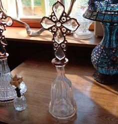 Bottle Cross, Soldered Cross on Very Vintage Bottle, Chandelier Crystals, 18 Inches. $125.00, via Etsy.