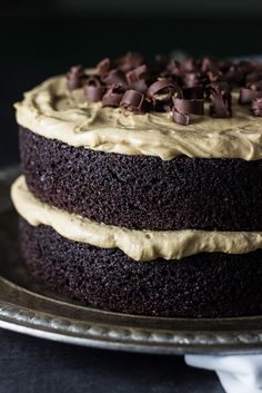 Chocolate Layer Cake with Creamy Peanut Butter Frosting | The Beach House Kitchen
