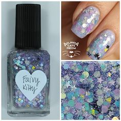 atlcatsmeow #lynnderella LE Fairy Kitty is a blend of assorted pastels and greys, accented with silver holographic micro stars in a multishimmered, clear base. Shown over a lavendar polish base. #lovelynnderella