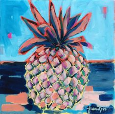 This is a original acrylic painting on canvas by artist Laura Dro. No prints will be made of this one! The pineapple ships directly from me in my studio in Chicago. Pineapple Art, Guache, Tropical Fruits, My Favorite Image, Abstract Flowers, Acrylic Painting Canvas, Graphic Design, Watercolor, Landscape