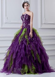 Classic Split Color Beading Strapless Floor-length Organza Ball Gown