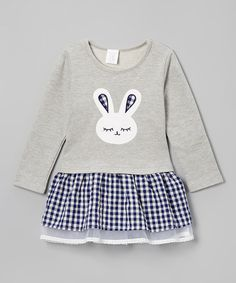 Loving this Gray & Navy Gingham Bunny Dress - Infant & Kids on #zulily! #zulilyfinds