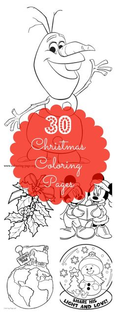 30 Christmas Coloring Pages for Your Kids or Class -- Fight Holiday break boredom with these printable coloring pages. You'll find everything from Olaf and those cute little dalmatians, to a traditional wreath and Christmas tree.