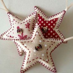 Set of three star-shaped felt christmas decorations. Felt ornaments These star-shaped Christmas decorations are handmade to order. Made from wool felt, each of the three ornaments are decorated with a different Felt Christmas Decorations, Felt Christmas Ornaments, Handmade Ornaments, Christmas Stars, Felt Christmas Stockings, Christmas Bunting, Beaded Ornaments, Handmade Felt, Merry Christmas