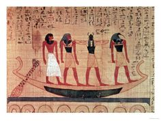 Papyrus, a Man Being Transported on a Barque to the Afterlife by Thoth, Khepri and Another God Giclee Print at AllPosters.com