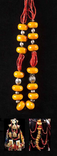 Tibet | Necklace; copal amber, coral and silver beads.  This could also possibly be a headdress element as shown in the photos below. L:  87 cm.  | Est. 2'000 - 2'000€ ~ (Mar '15)
