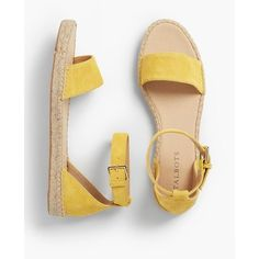 Talbots Women's Ivy Ankle Strap Espadrille Flats : Silk Suede ($75) ❤ liked on Polyvore featuring shoes, sandals, bright yellow, polish shoes, ankle strap flats, suede flat shoes, yellow shoes and yellow suede shoes
