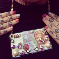 #jewels  #cool #girl #necklace #style #money #bijoux #fashion #collane #girl #fashionblog collane strane divertenti, funny stones necklace, mille lire maria montessori, fusa bijoux storenvy, etsy.com, kola payer , amanda marzlini,...