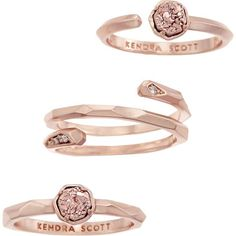 Warren Ring Set in Rose Gold Drusy - Kendra Scott Jewelry ($50) ❤ liked on Polyvore featuring jewelry, rings, accessories, druzy jewelry, drusy jewelry, pink gold rings, rose gold druzy ring and rose gold rings