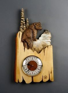 Wall clock Carved on Wood Wood Carving with Bark by DavydovArt