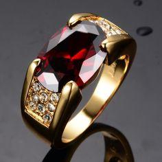 Homens Mulheres Moda Jóias Anéis de Rubi 10KT Ouro Amarelo Cheio Dedo Anéis de Cristal Vermelho Para A Festa de Casamento Melhor Amigo Presentes