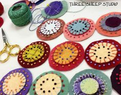 Love these from Wool Pennies embellished with simple French knots - Three Sheep Studio