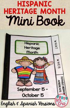 Hispanic Heritage Month Presentation and Mini Book  Includes: -Hispanic Heritage Month animated PPT in English -Hispanic Heritage Month animated PPT in Spanish -Mini Book in English -Mini Book in Spanish