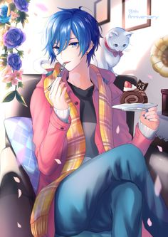 Girls Anime, Cute Anime Guys, I Love Anime, Vocaloid Kaito, Kaito Shion, Chica Anime Manga, Kawaii Anime, Anime Art, Illustration Studio