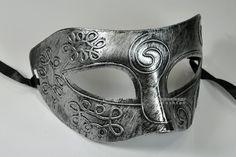 Silver Antique Greek Roman Warrior Men Venetian Mardi Gras Party Masquerade Mask - Event Party Ball Mardi Gars on Etsy, £8.00