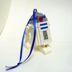 Love!  Custom LEGO R2 D2 Ornament by FoldedFancy
