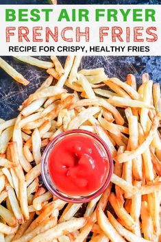 Our best air fryer fries recipe makes crispy fresh fries with almost no oil! Air Fryer Fries, Air Fryer French Fries, Delicious Vegan Recipes, Gourmet Recipes, Healthy Recipes, Amazing Recipes, Drink Recipes, Tasty, Crispy Pickles Recipe