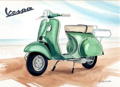 A classic Vespa Scooter from 1959 Vespa Scooters, Scooter Scooter, Vespa Roller, Grape Painting, Classic Vespa, Art Impressions, Bike Style, Painting Inspiration, Art Sketches