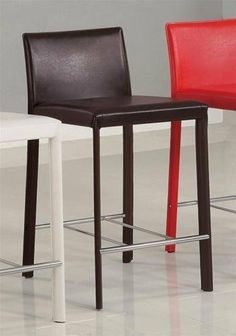 Penrose Chocolate Leather Counter Stool (Set of 2) by Coaster Home Furnishings. $142.56. Chocolate Bar Stool. 24 Inch Seat Height. Contemporary Look. Set of Two Bar Stools. Some Assembly Required. Penrose collection of beautiful colorful bi-cast Leather counter stools will add sophistication to your casual dining joy, as well as match and blend in your room's décor with its unique contemporary design, smooth clean lines and bold vinyl upholstery on sturdy sleek...
