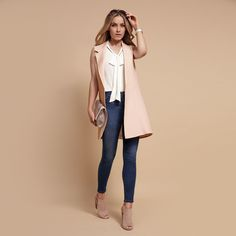 Love the sleeveless jacket New Outfits, Summer Outfits, Cute Outfits, Work Outfits, Sleeveless Jacket, Forever New, Summer Looks, Duster Coat, Winter Fashion