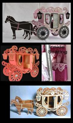Princess Carriage with optional horses and boxes 3d model boxes inc one for just…
