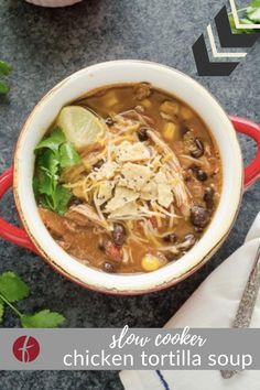 Slow Cooker Chicken Tortilla Soup is an easy, dump and go soup recipe that the whole family will love! It's hearty, flavorful and it's great for meal prep! Best Chicken Recipes, Whole Food Recipes, Healthy Recipes, Homemade Marinara, Homemade Soup, Healthy Slow Cooker, Slow Cooker Recipes, Slow Cooked Pork, Chicken Tortilla Soup