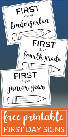Free Printable First Day of School Sign {Pencil}. Preschool, kindergarten, and first grade through high school first day of school picture signs. #papertraildesign #schoolprintable #school #firstday