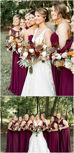 Maroon bridal party, long formal bridesmaid dresses, colorful orange and white wedding bouquets // Katie Norrid Photography