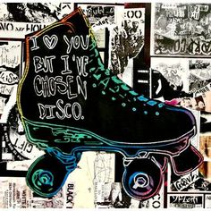 """TAF DECOR I Love You but I've chosen Disco by Annie Terrazzo Graphic Art on Canvas Size: 27.55"""" H x 27.55"""" W"""
